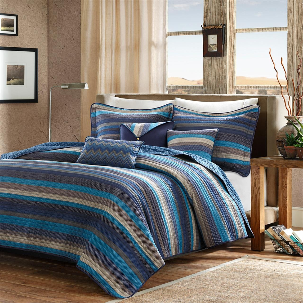 Madison Park Yosemite King/Cal King Size Quilt Bedding Set - Blue, Striped – 6 Piece Bedding Quilt Coverlets – Cotton Bed Quilts Quilted Coverlet