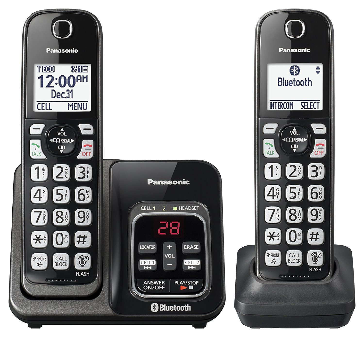 Panasonic KX-TGD562M Link2Cell Bluetooth Cordless Phone Voice Assist Answering Machine - 2 Handsets (Certified Refurbished)