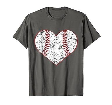 e99a9d5f2c9e Mens Baseball Heart T Shirt, Gift for Softball Mom or Dad, Team 2XL Asphalt