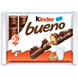 Kinder Bueno Milk Chocolate and Hazelnut Cream Candy Bar, 3 Packs, 2 Individually Wrapped Bars Per Pack, 129 Grams