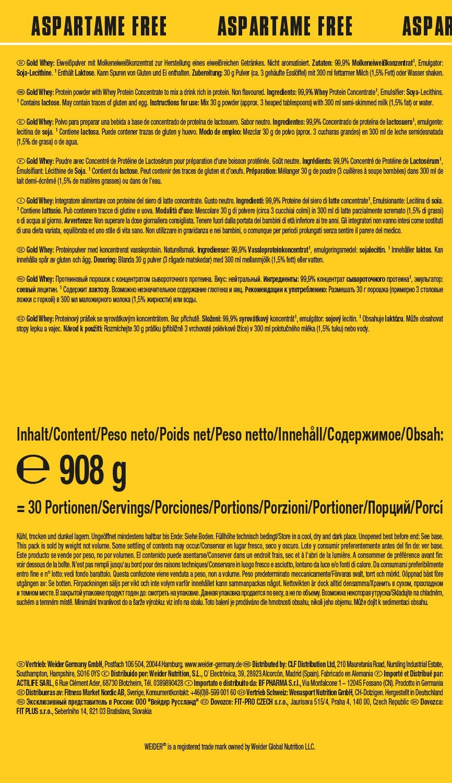 Weider Gold Whey Neutral - 908 gr: Amazon.es: Salud y cuidado ...