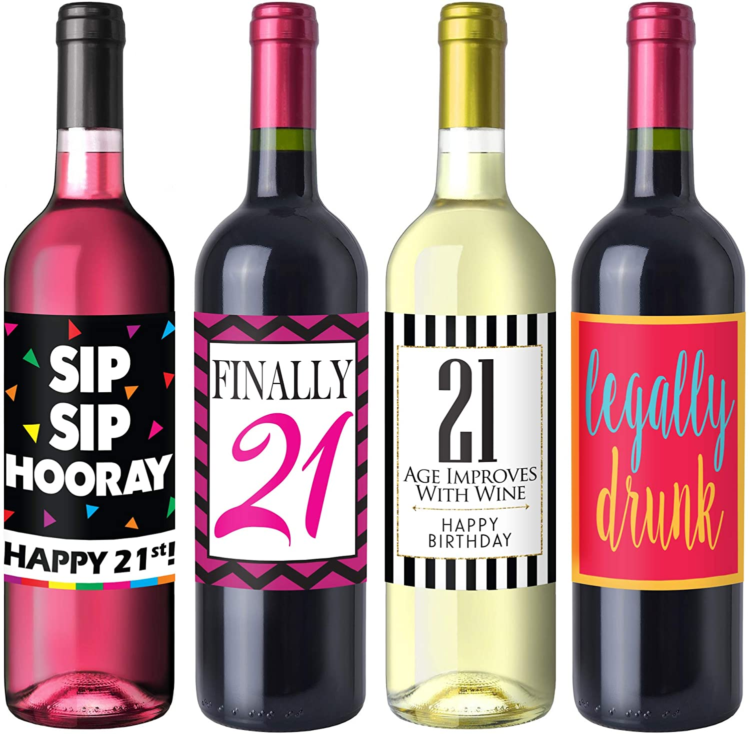 Online Cheap Wholesale Chic 21st Birthday Wine Label Pack