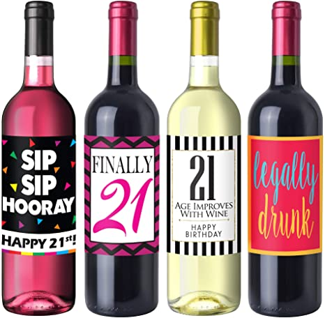 Chic 21st Birthday Wine Label Pack