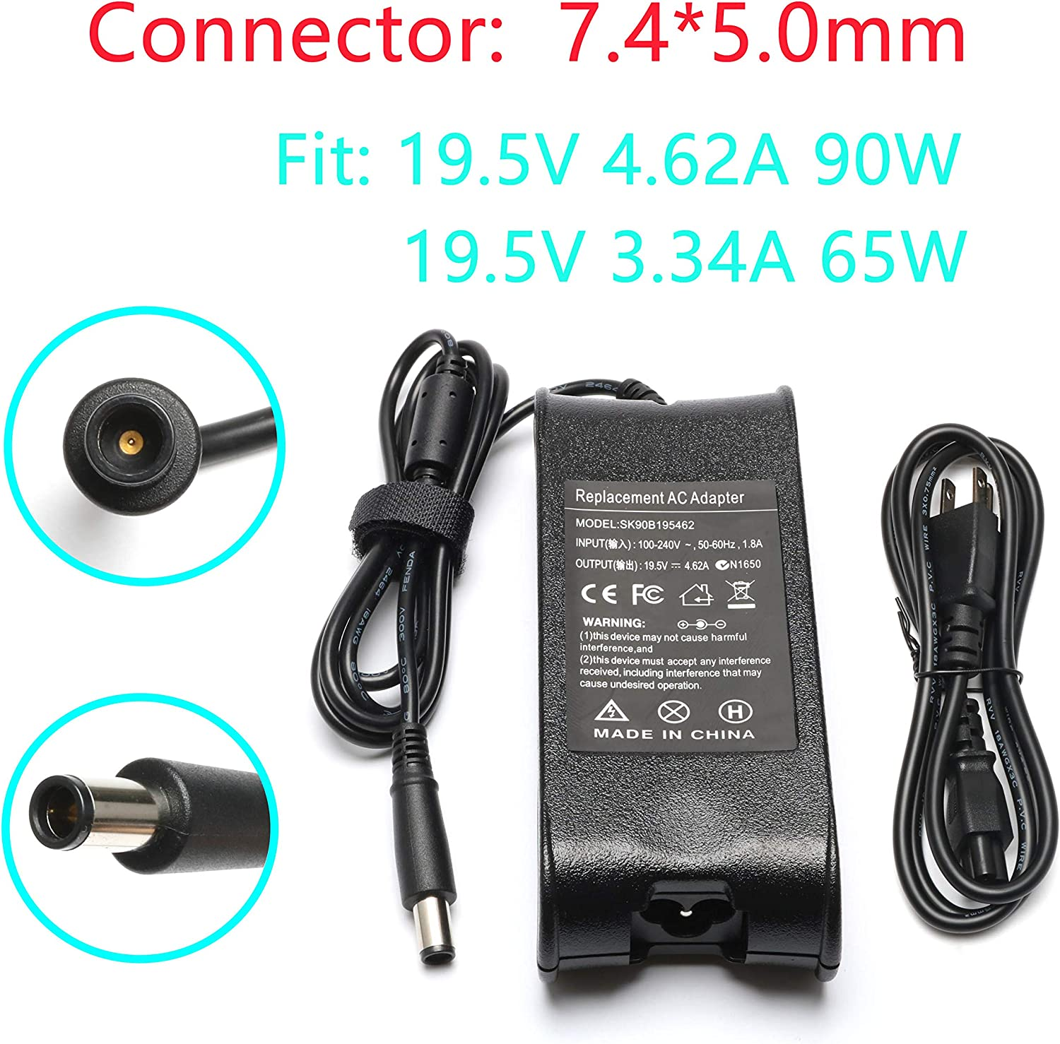 19.5V 4.62A 90W Laptop Charger for Dell Latitude E6320 E6510 E6420 E6430 E6330 E6440 E6400 E7440 E5450 E7450 E7240 E6410 E6520 E6540 E5540 E5430 E4310 E5550 E5530 E6500 E5400,PA 12 LA90PM111 LA65NM130