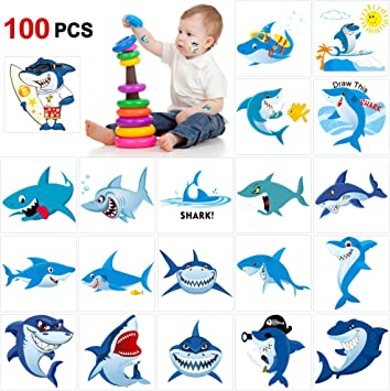 Howaf 100 Piezas tiburón Tatuajes temporales para niños, Falso ...