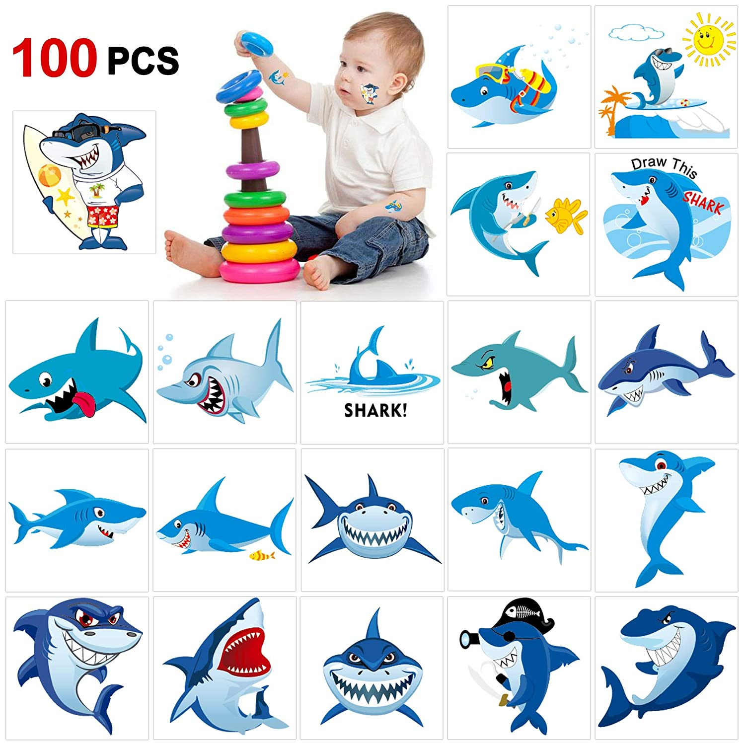 Amazon Com Shark Temporary Tattoos 100pcs Konsait Shark Tattoo
