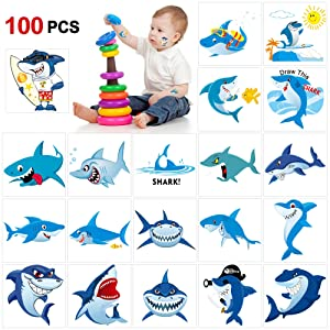 Shark Temporary Tattoos(100pcs),Konsait Shark Tattoo Body Stickers Costume Accessories for Ocean Sea Shark Themed Baby Shower Birthday Party Favor Supplies Decor for Boy Girls Kids Party Bag Filler
