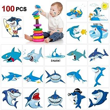 Howaf 100 Piezas tiburón Tatuajes temporales para niños, Falso Tatuaje Temporal Pegatinas para niños Infantiles Fiesta de cumpleaños, Piñata y Regalos ...