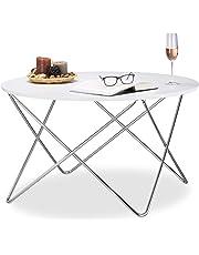 Relaxdays – Mesa auxiliar redonda, madera mesa de café con patas de metal curvado,