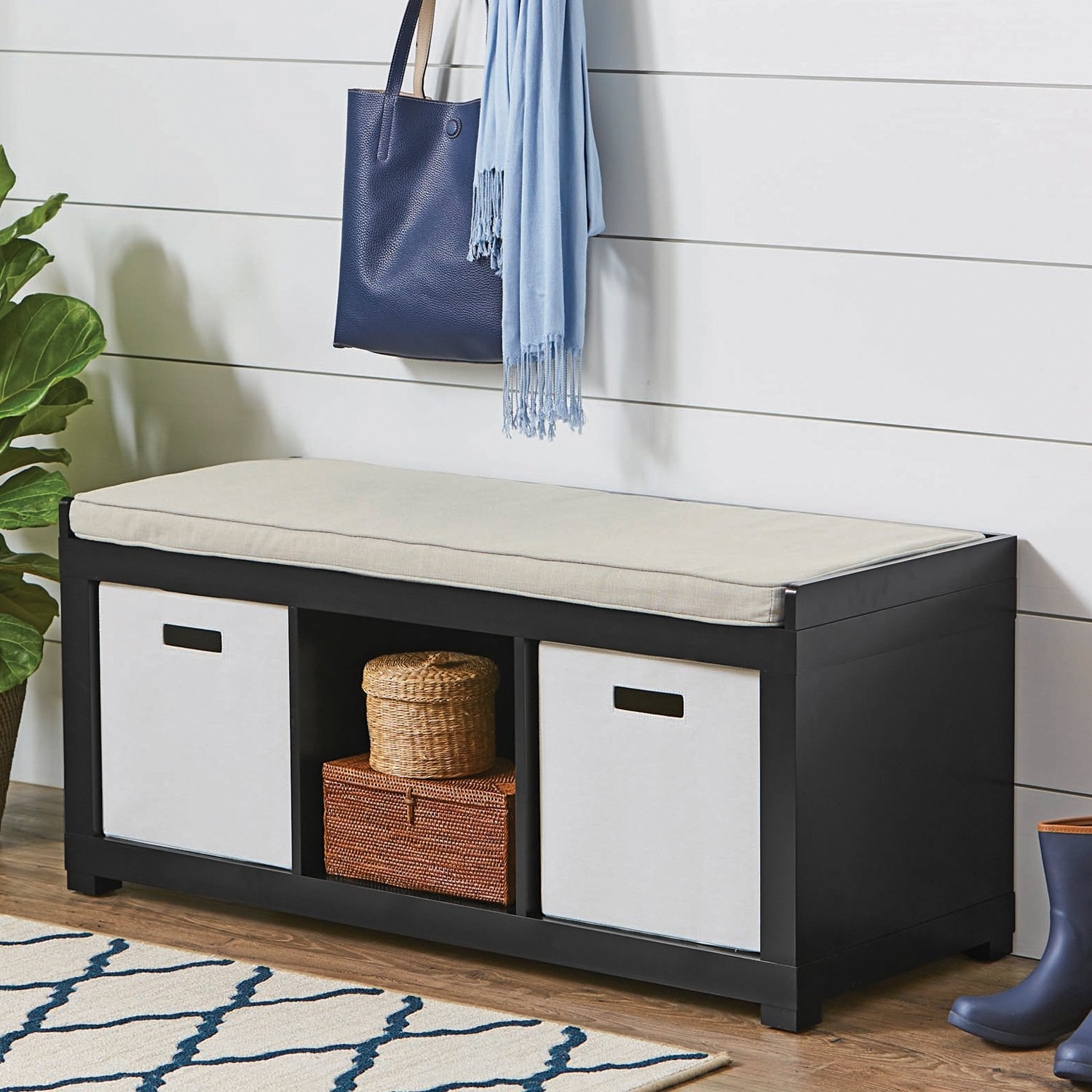 The Better Homes and Gardens 3 Cube Storage Bench (Solid Black)