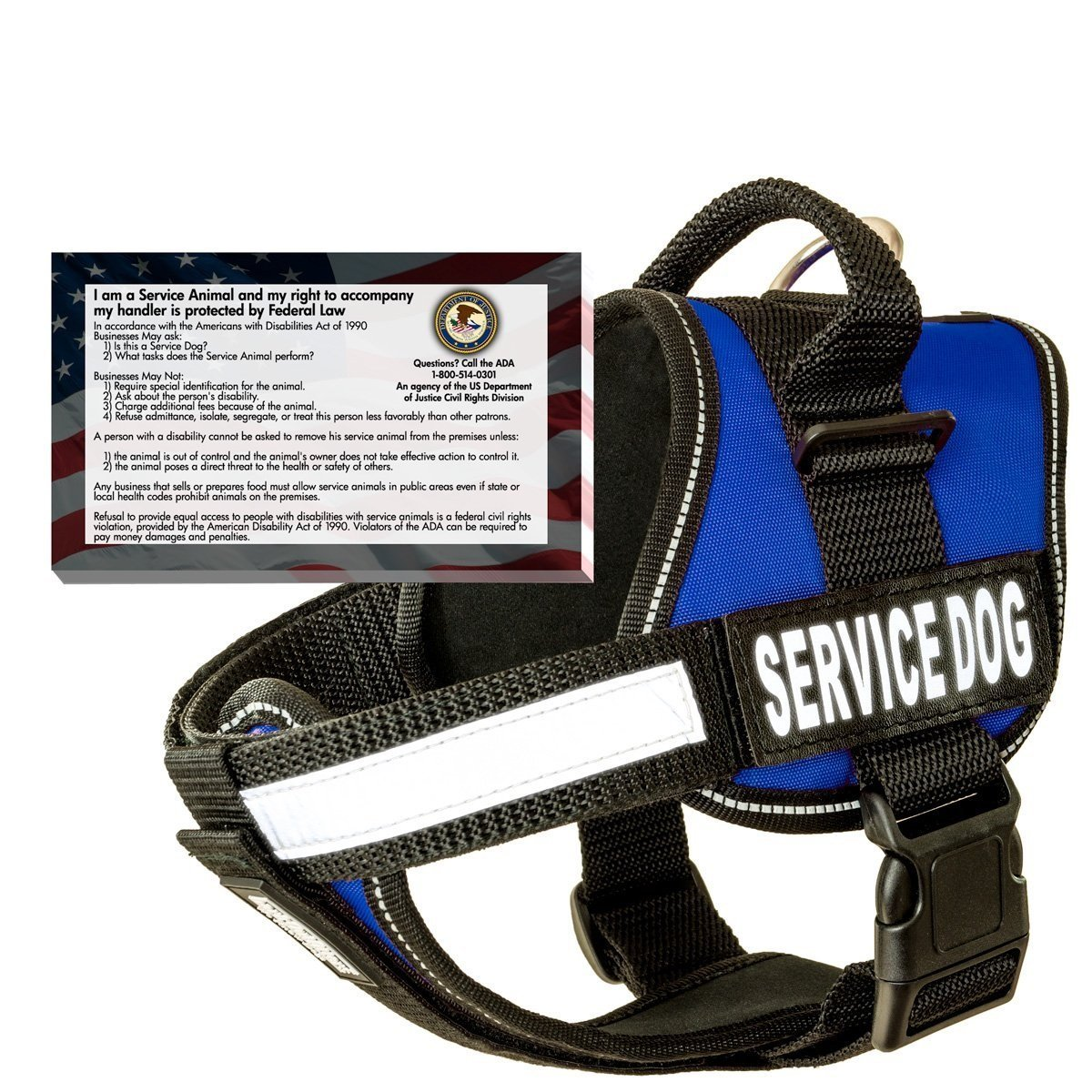 barkOutfitters Service Dog Vest Harness and 50 ADA Info Cards Kit (Blue, (22'' - 28'') Girth