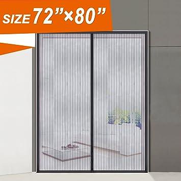 Magnetic Screen Door, Wide Mega French Door Mesh 72 X 80 Fit Doors Size Up