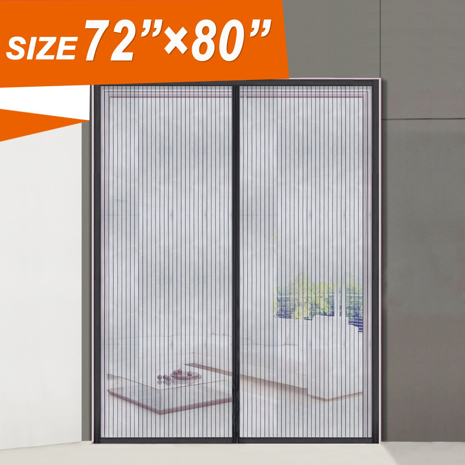 Magnetic Screen Door 72, Wide Mega French Door Mesh 72 X 80 Fit Doors Size Up to 70''W X 79''H Max with Full Frame Magic Sticker Large Magnet Double Door Curtain Slab Doors Keep Fly Mosquito Out by MAGZO