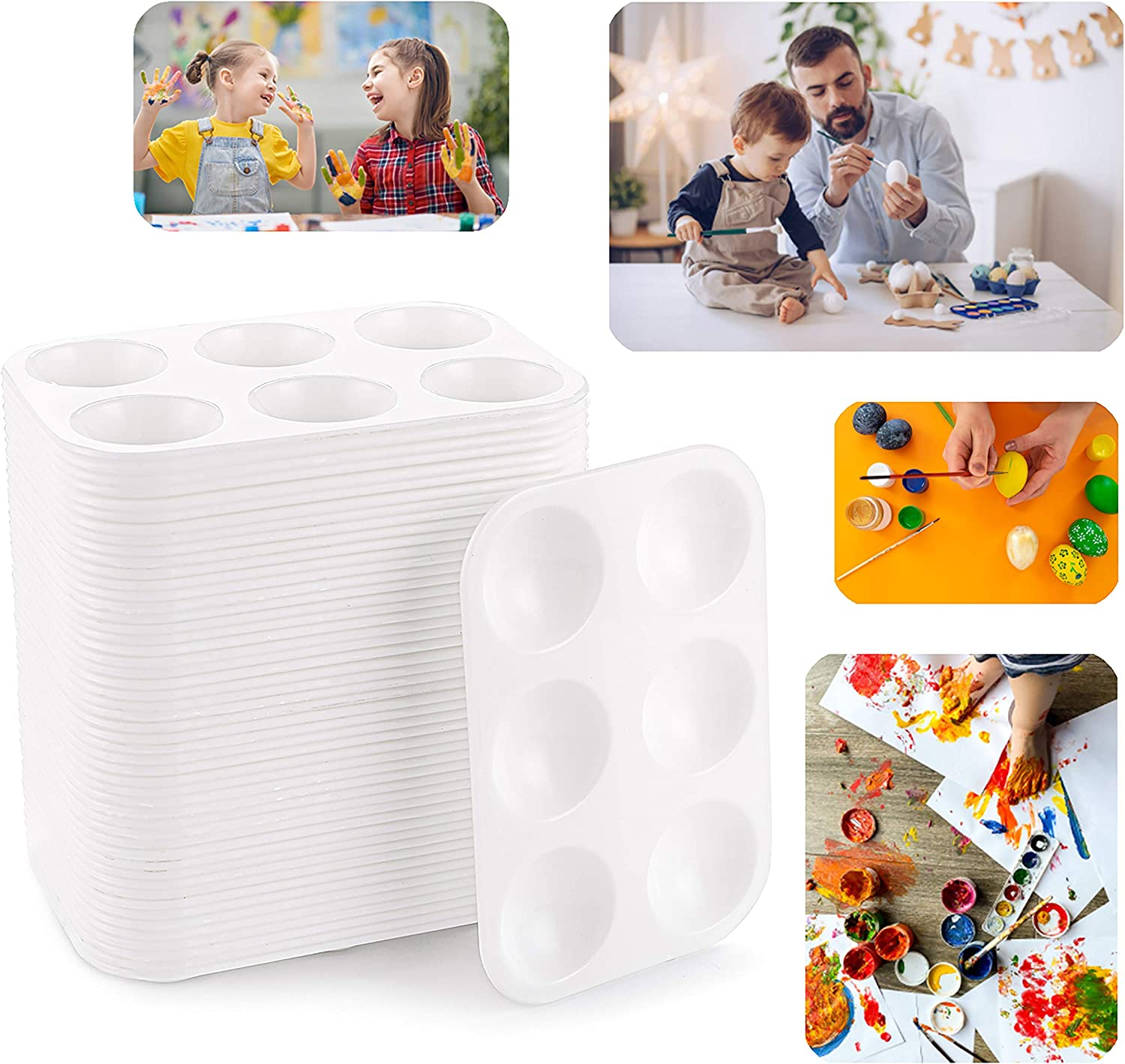Rectangular Plastic Paint Tray for Kids Student Watercolor Craft DIY Art Painting Easy to Clean Cedilis 50 Pack White Art Paint Tray Palette 6 Wells Adult