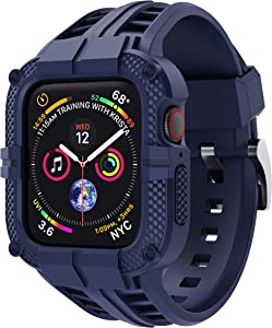 T-ENGINE Band Compatible with Apple Watch Band 44mm Series 4 Series 6/5/SE, TPU Rugged Sports Band with Full Protection Case for Men/Women, Blue