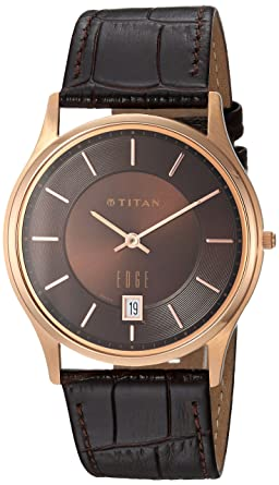 Titan Mens Edge Quartz Stainless Steel and Leather Dress Watch, Color:Black