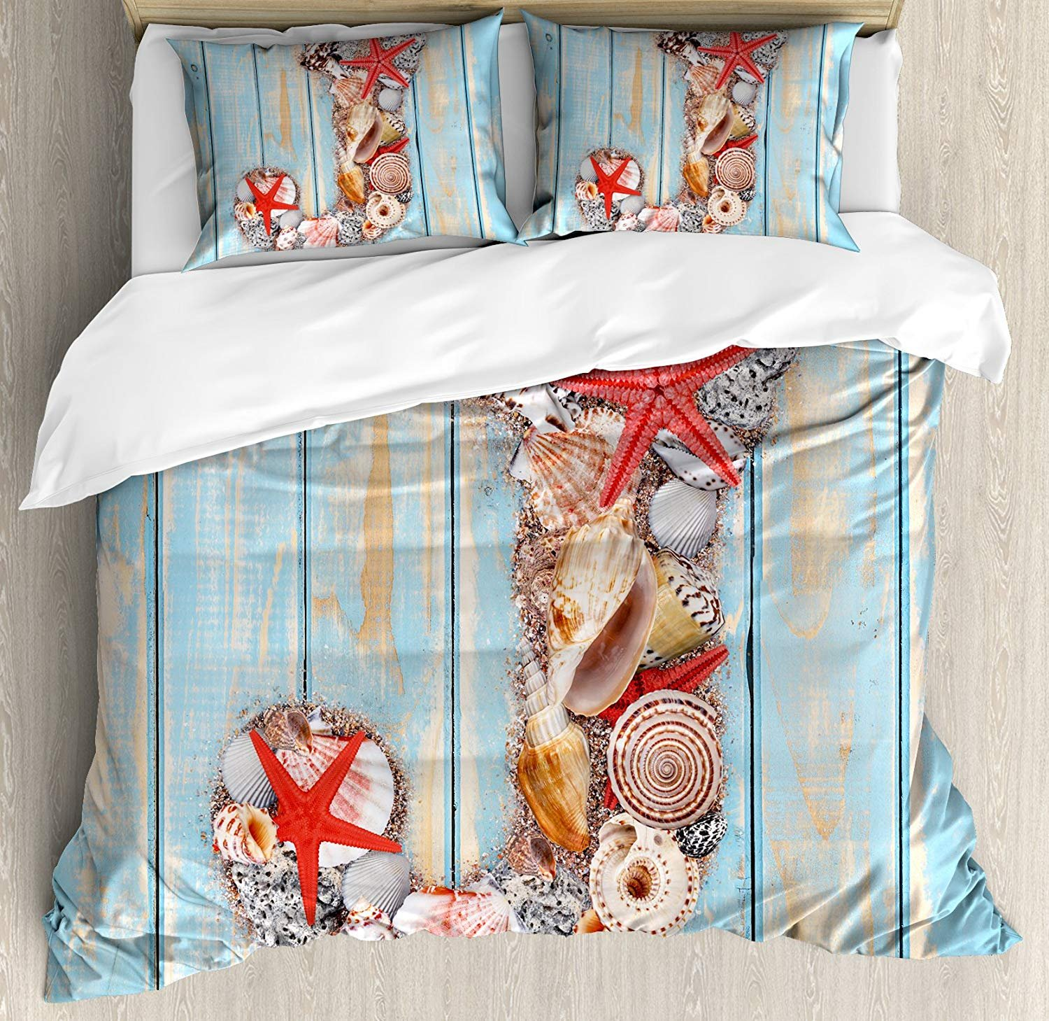 Family Decor Letter J Twin Duvet Cover Sets 4 Piece Bedding Set Bedspread with 2 Pillow Sham, Flat Sheet for Adult/Kids/Teens, Summer Holiday on Tropical Beach Theme J Rustic Old Wood Planks