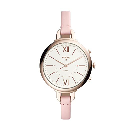 Fossil Q Annette Women's Hybrid Smartwatch - Rose Gold-Tone Stainless Steel  Case with Pink Leather Strap - Compatible Android and iOS
