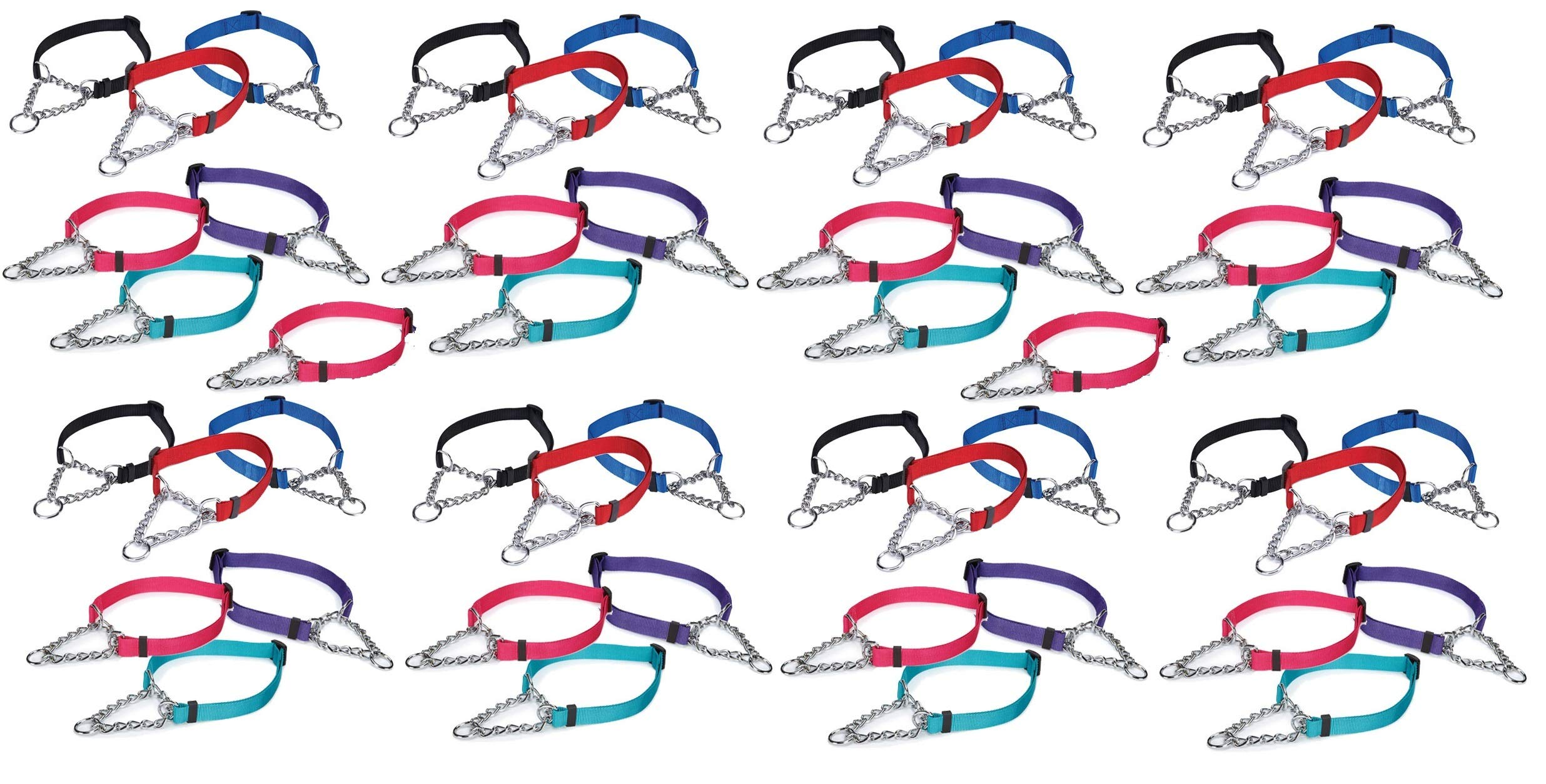 MPP 50 Chain Martingale Dog Collar Bulk Shelter Rescue Vet Assorted Color Pick Size (Small - 10 to 16 inch)