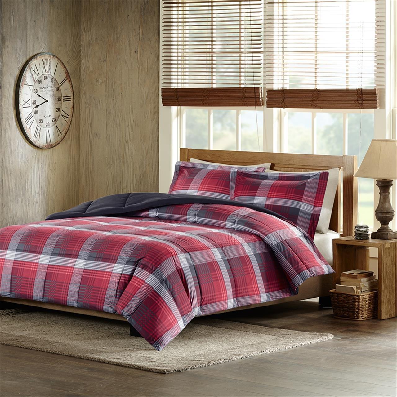 Amazon.com: Woolrich Terrytown Softspun Down Alternative Comforter Mini  Set, Full/ Queen, Red: Home U0026 Kitchen