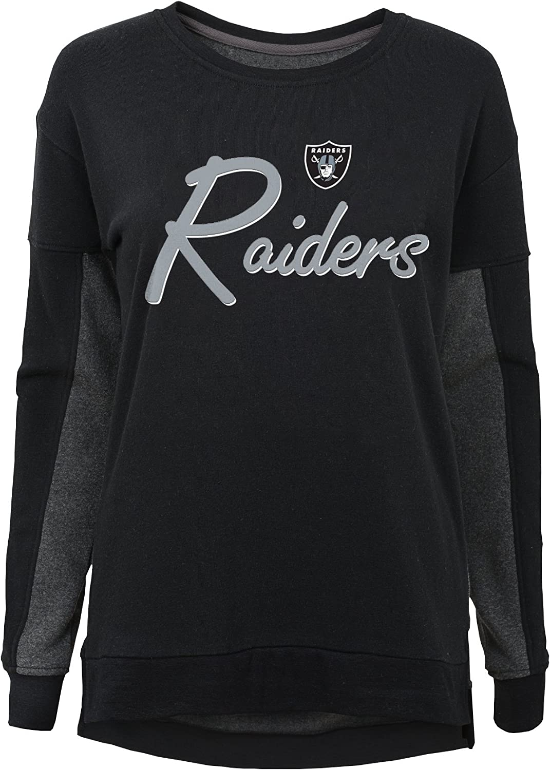 Youth Small NFL Oakland Raiders Youth Girls In the Mix Long Sleeve Crew Neck Top Black 7-8