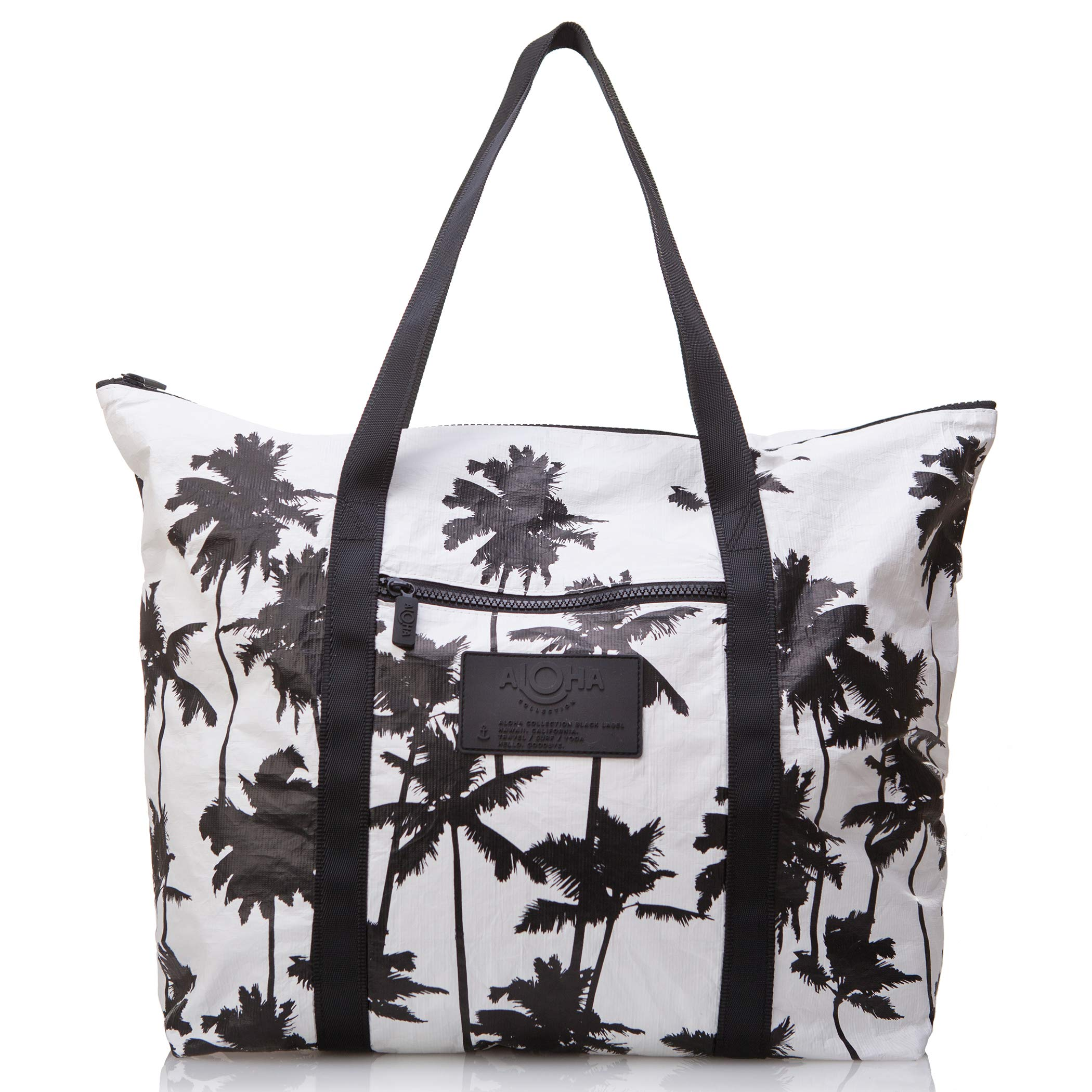 ALOHA Collection Coco Palms Zipper Tote in Black