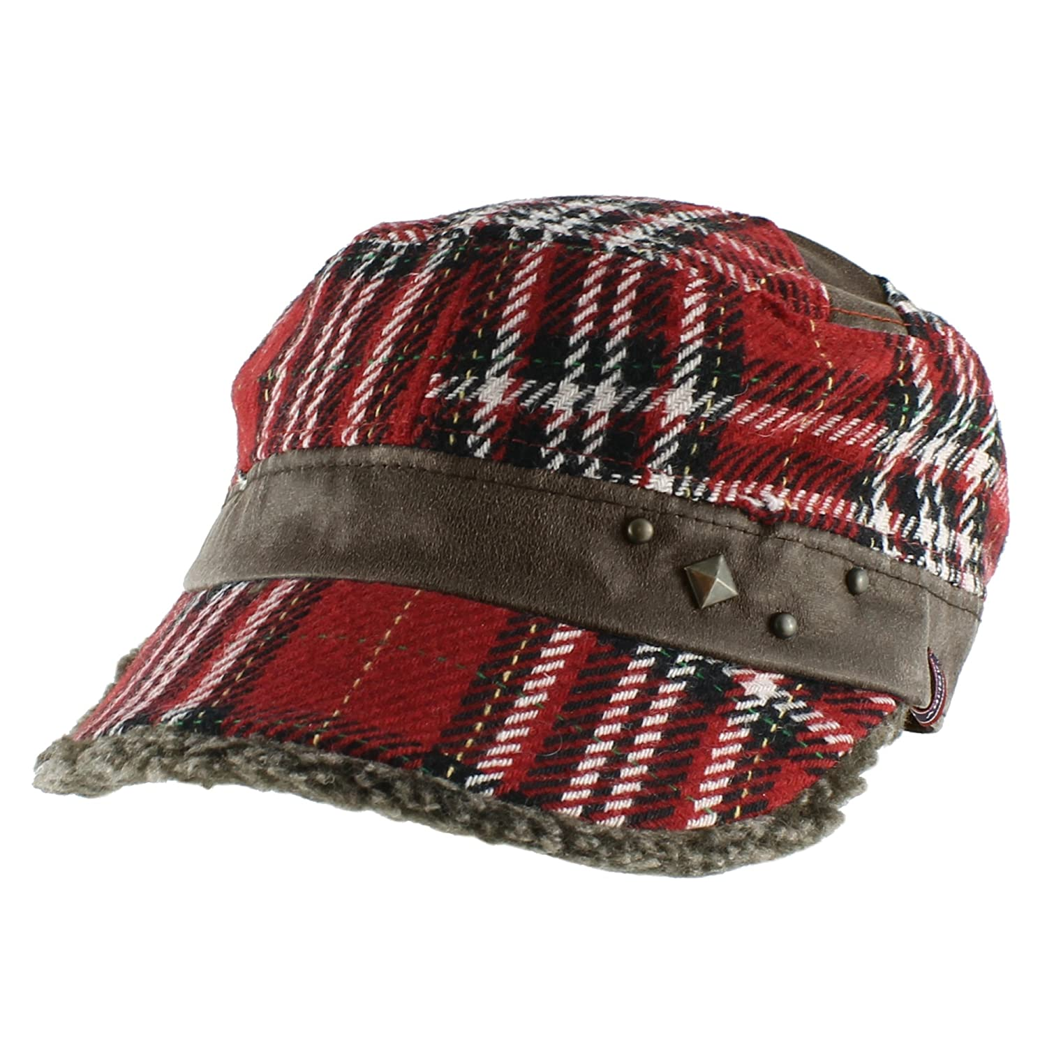 c7ec7c6de Morehats Wool Plaid Baseball Cap with Sherpa Lined Studded Bill Warm Winter  Hat - Black at Amazon Men's Clothing store: