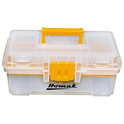 Homak 12-Inch Plastic Transparent Toolbox with Tray, TP00112055: Home Improvement