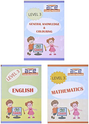 UKG Kids ACE All-in-One Worksheets 260 pages (KG 2) and Montessori (4-6 yrs) (English; Mathematics; General Knowledge / EVS & Colouring Combo) loose leaf from 3H Learning
