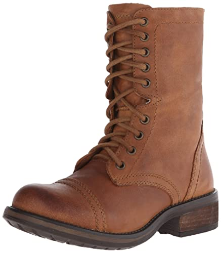 Steve Madden Women's Tropa2-0 Combat Boot, Cognac Leather, ...