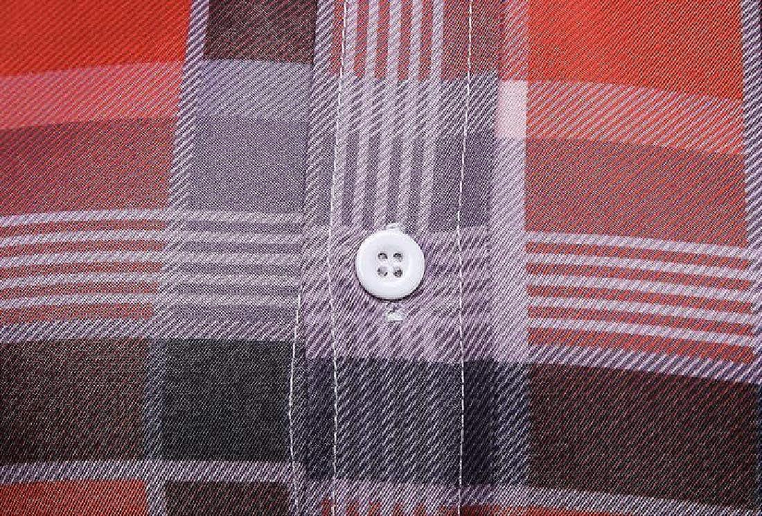 KLJR Men Button Up Regular Fit Long Sleeve Business Plaid Print Dress Work Shirt