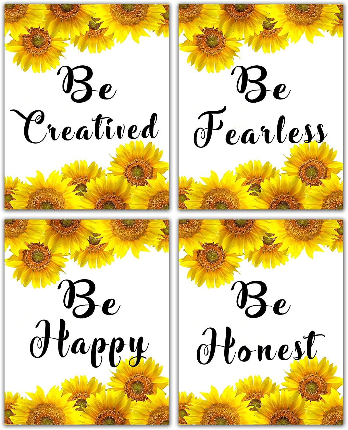 Inspirational Wall Art Motivational Posters - Home Office Decor Positive Quotes Picture Country Print Teen Girls Living Room Bathroom Bedroom Decoration Sunflower Wall Decor Sayings Unframed 8x10inch