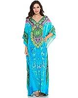 Kivaana Women's Caftan Dress Kaftan Digital Dress Beach Kaftan Dress Blue Maxi Caftans