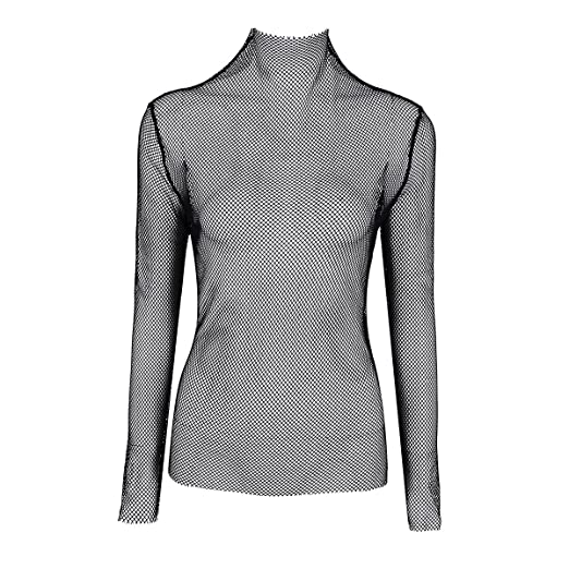 TiaoBug Women Fishnet See-Through Long Sleeve Stand Collar Stretchy T-Shirt  Tops Black 934a6e690