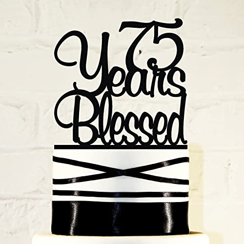 Amazoncom 75th Birthday Cake Topper 75 Years Blessed Custom