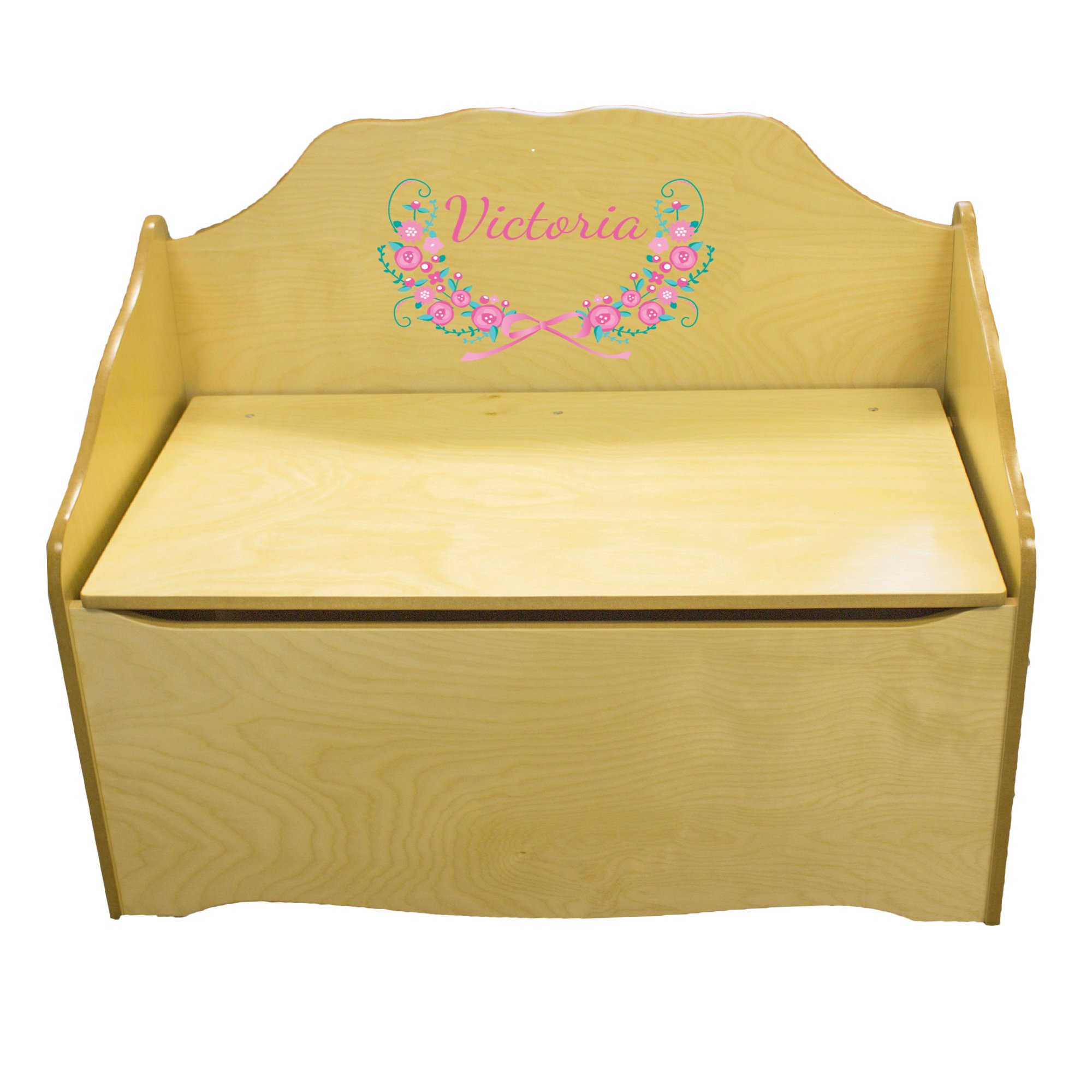 Personalized Vintage Garland Childrens Natural Wooden Toy Chest
