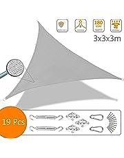 Voile d'ombrage Triangle avec Le Kit de Fixation | Matière résistante aéré 100% Nouveau HDPE-180g/m2 | Bloque 90% Rayons UV | Kit de Montage Inclus