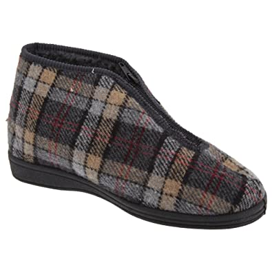 Sleepers Mens Jed II Thermal Zip Check Bootee Slippers (9 US) (Grey)