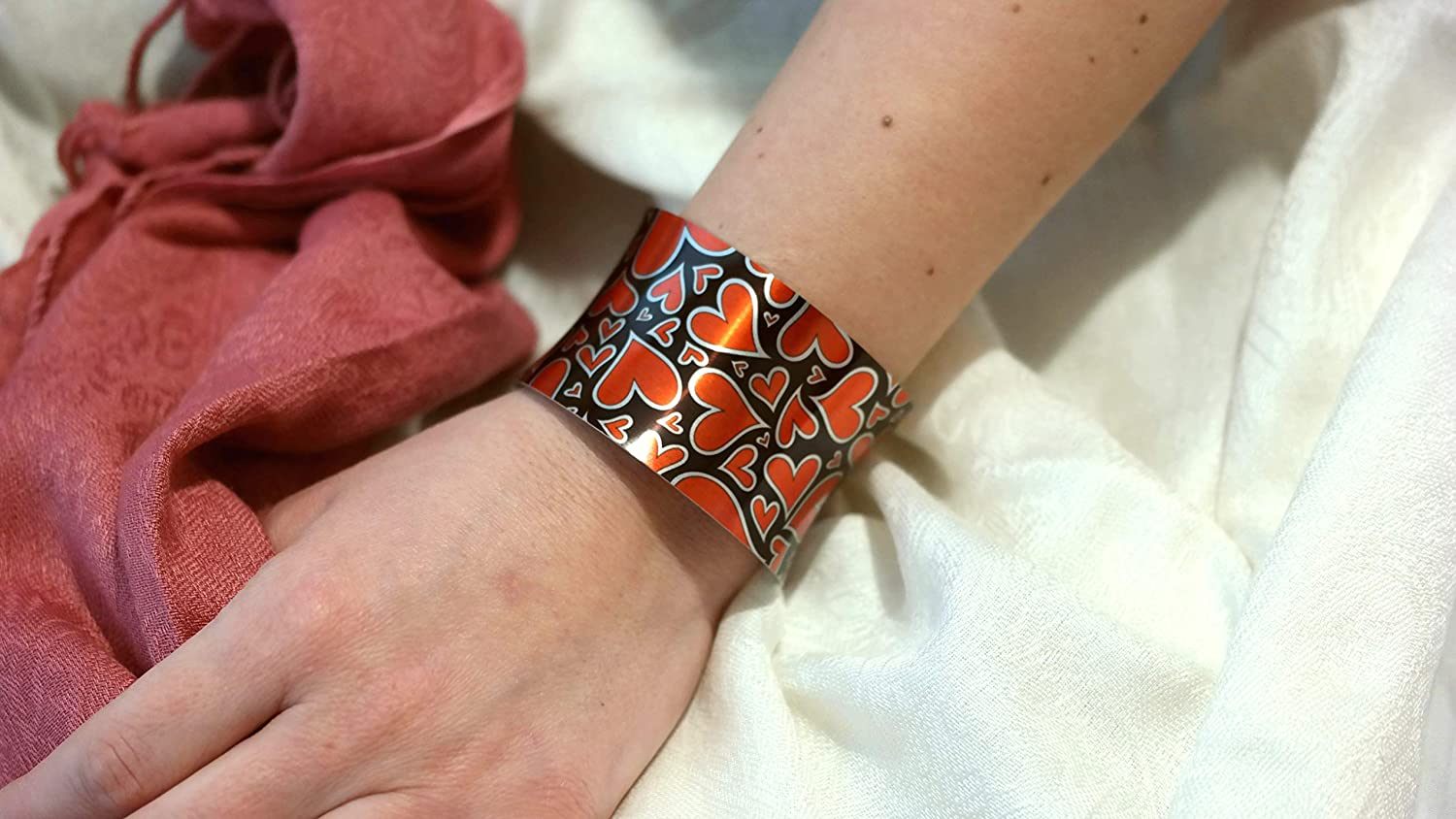 Aluminum Charm Cuff Bracelet Printed with Sublimation Ink,Coated with Premium Anti-Allergic Material,Colorefull Cuff Bracelet Handmade Personalized Bracelet for Girls