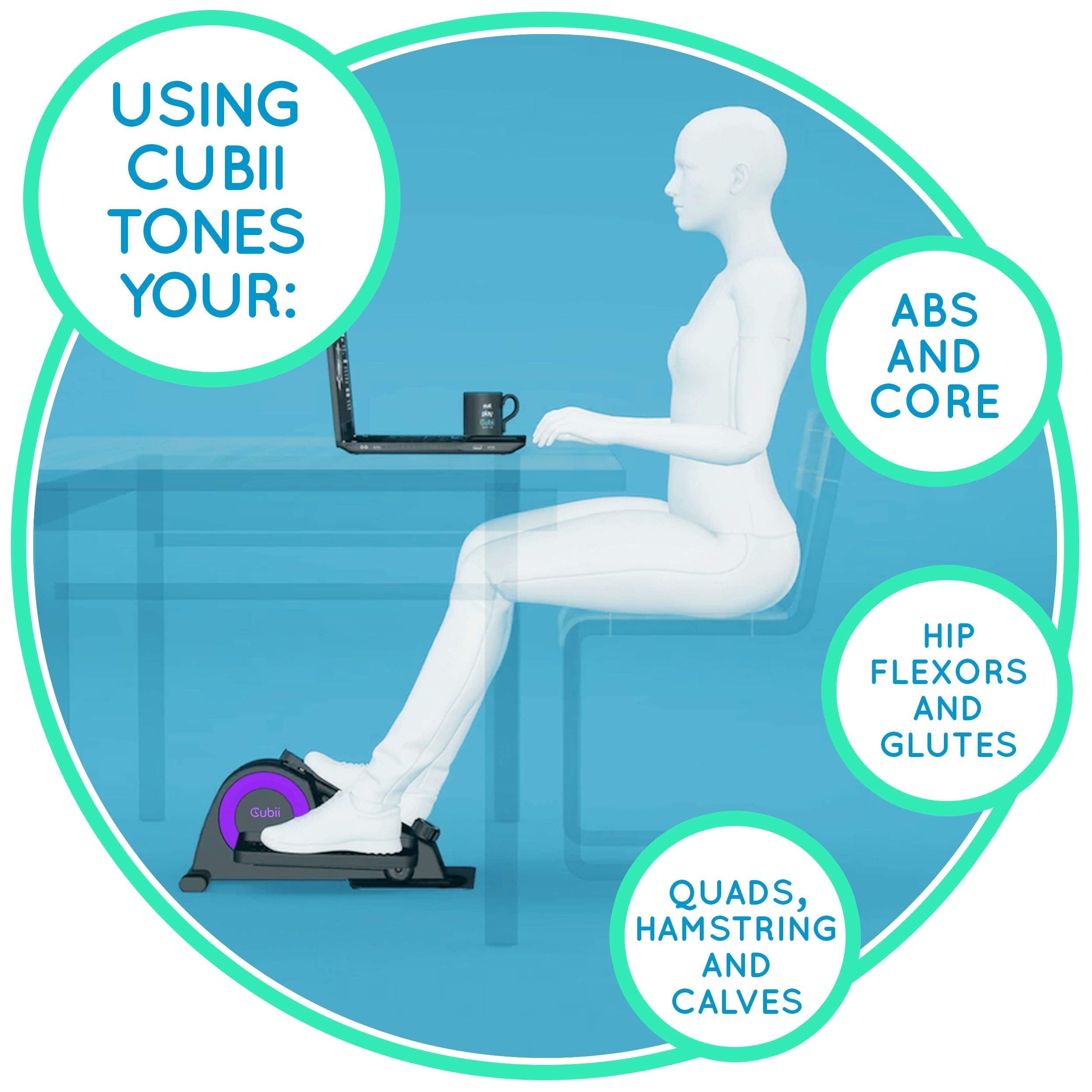 Cubii Jr: Desk Elliptical w/Built in Display Monitor, Easy Assembly, Quiet & Compact, Adjustable Resistance (Purple, One) by Cubii (Image #3)