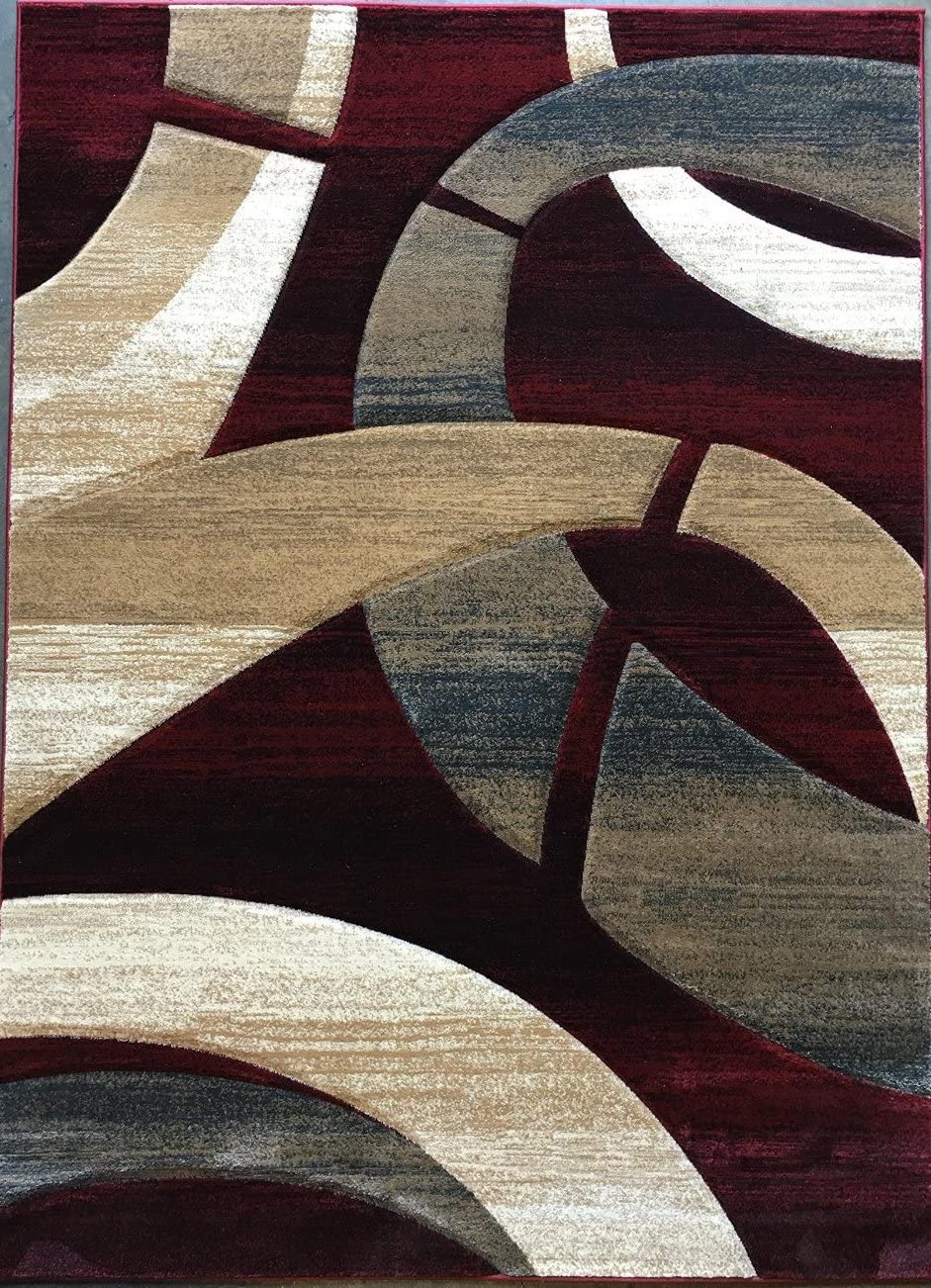 Sculpture Modern Area Rug Red Burgundy Design 248 (5 feet 2inches X 7 feet 1 inch)