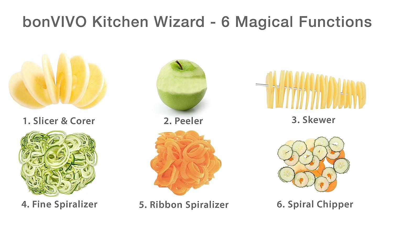 bonVIVO Kitchen Wizard Stainless Steel Fruit And Vegetable Slicer ...