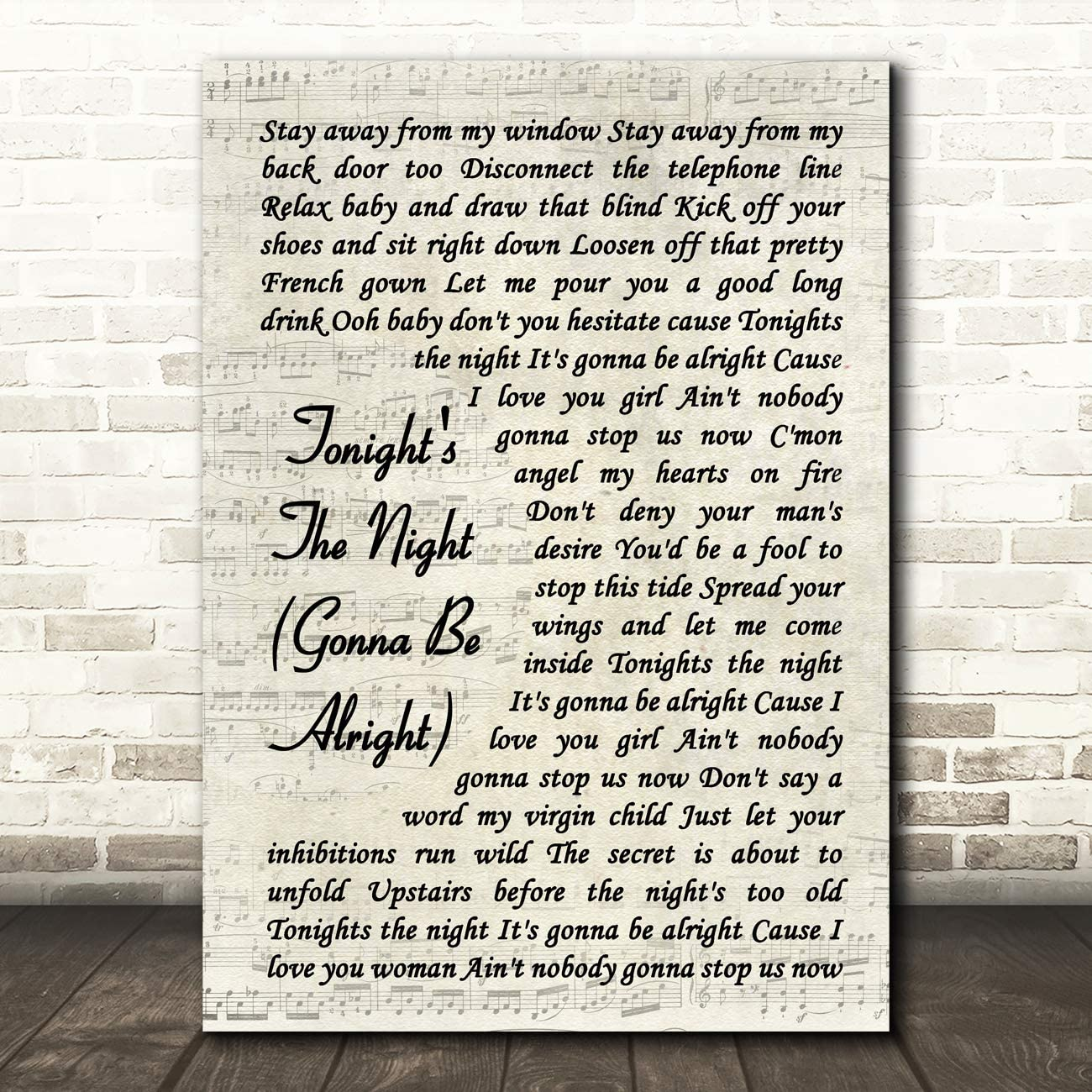 Tonight's The Night (Gonna Be Alright) Song Lyric Vintage Script Quote Wall Art Gift Print