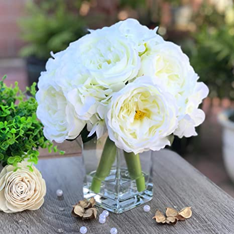 Amazon Com Enova Home Peony And Hydrangea Mixed Artificial Silk Flower Arrangement With Clear Glass Vase For Home Wedding Decoration Cream Kitchen Dining