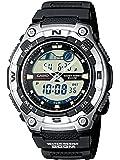 Casio CASIO Collection - Reloj analógico - digital de caballero de cuarzo con correa de resina negra (cronómetro, alarma, luz) - sumergible a 200 metros