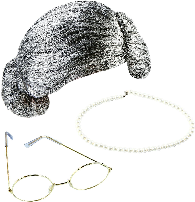 Keriber 3 piezas gris abuela peluca abuela gafas de perlas artificiales collar vestido elegante joyería