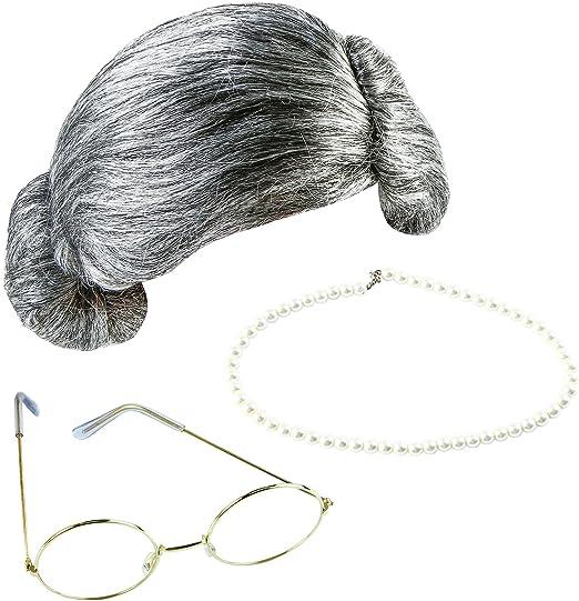 Keriber 3 piezas gris abuela peluca abuela gafas de perlas ...