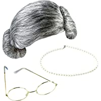 Keriber 3 Pieces Grey Wig Grandma Wig Granny Glasses Artificial Pearl Necklace Fancy Dress Accessories