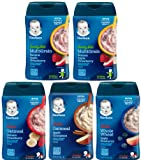 Gerber Baby Cereal Lil' Bits & Hearty Bits Ultimate Variety Pack, Silicone Baby Bib, Spoon and Bowl. Bundle of 5 Cereals