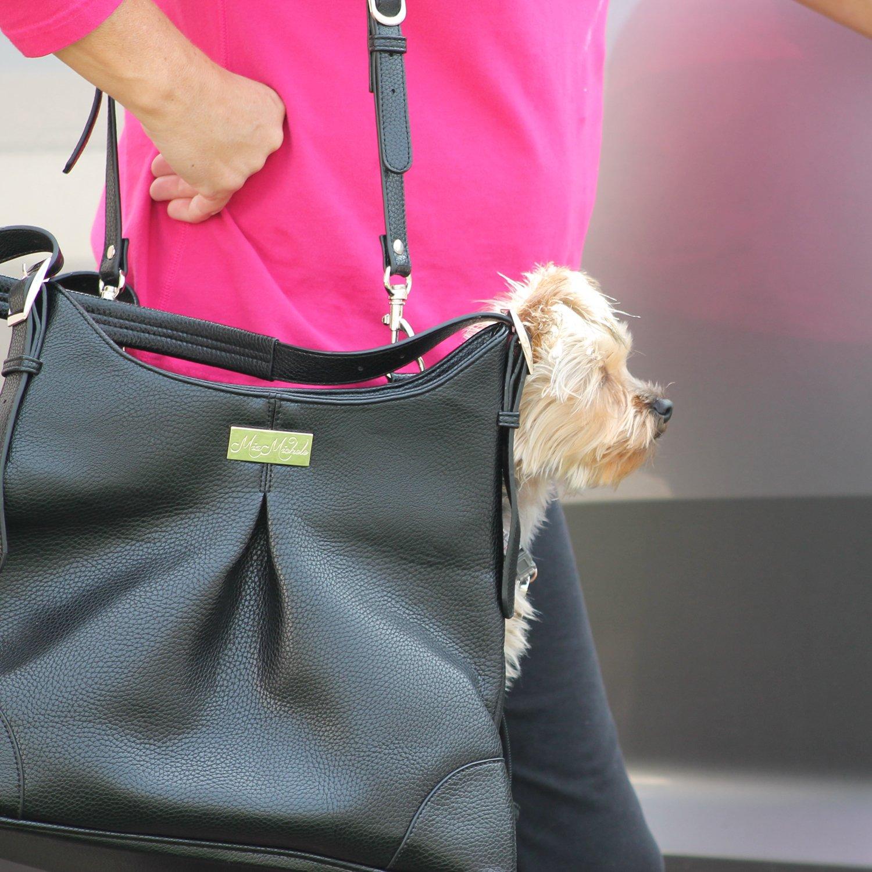 Doggie Design Sadie Michele Mia Black Faux Pebble Leather Dog Carry Bag